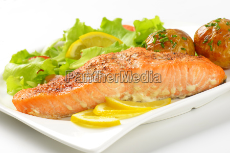 salmon fillet with roasted potatoes and