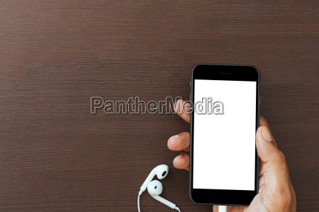 hand hold phone white screen on
