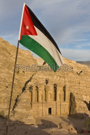 the jordanian flag in front of