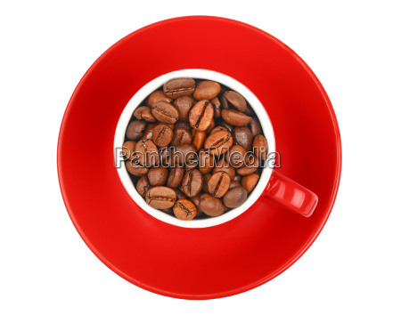 coffee beans in red espresso cup