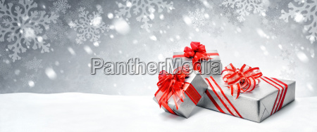 christmas gifts in red and silver