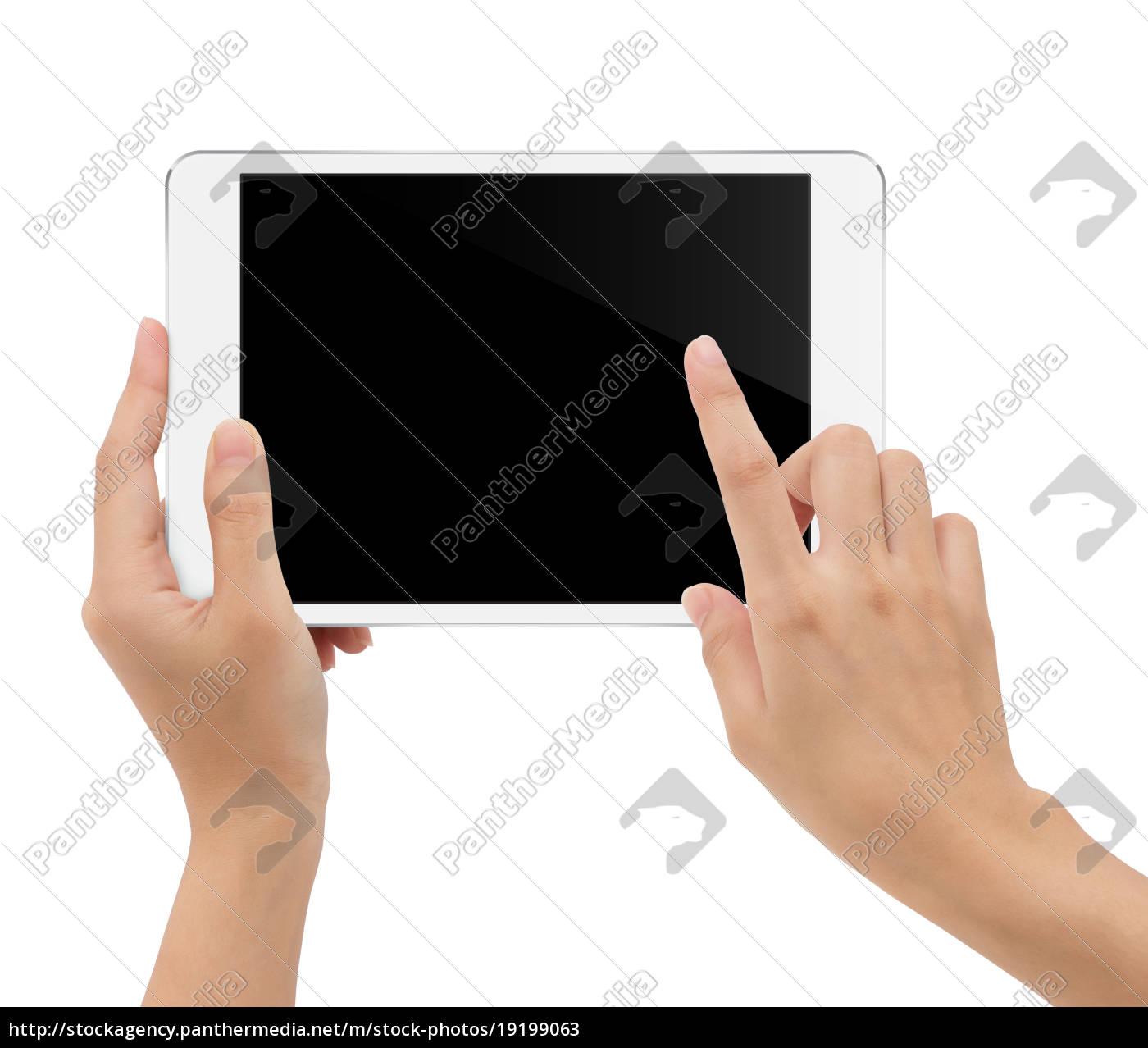 close-up, mano, tenendo, tablet, isolato, sfondo - 19199063