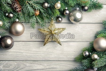 christmas background wood pine branches star