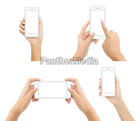 hand, hold, phone, blank, screen, isolated - 19298735
