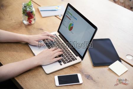 la donna alla scrivania utilizzando il
