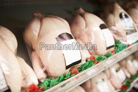 visualizzazione di polli freschi nel negozio