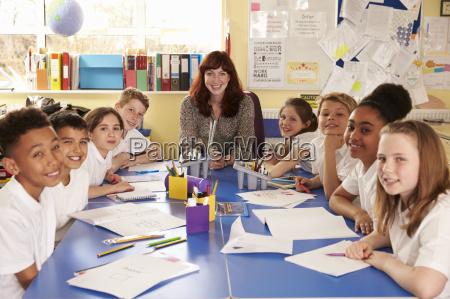 school teacher and class working on