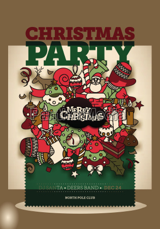 vector christmas party poster design party