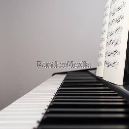 pianoforte con foglio di musica