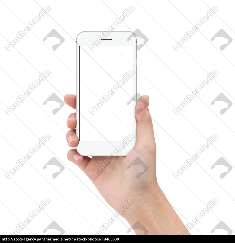 close, up, mano, tenere, telefono, isolato - 19400608