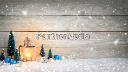 christmas wood and snow background decorated