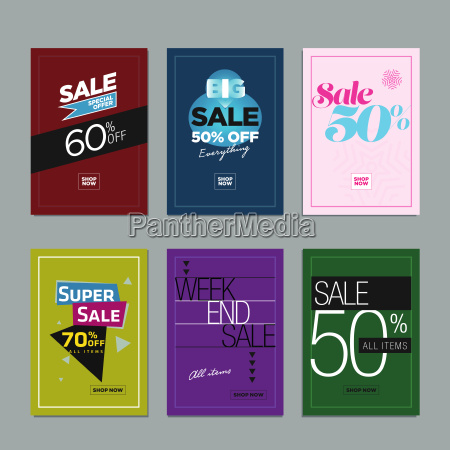 collection of sale poster or website