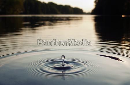 water droplet in lake