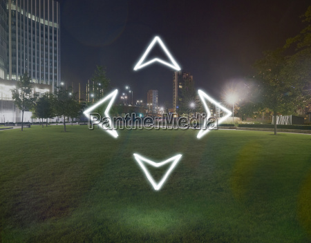 four glowing direction arrows pointing outwards