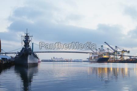 battleship iowa in port of los