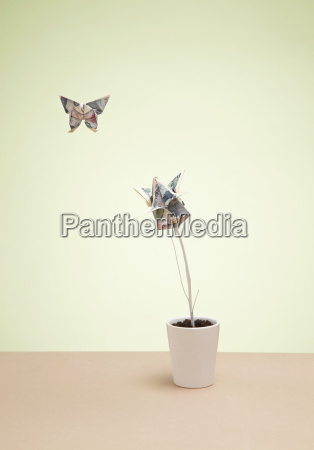 origami butterfly and yen banknote in