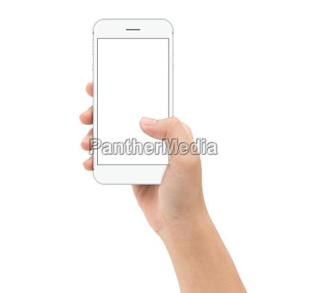 mano tenendo smart phone su sfondo
