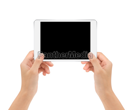 tablet in woman hand isolated on