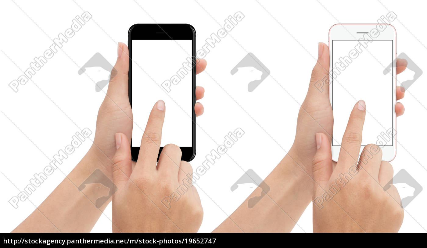 hand, touch, phone, isolated, with, clipping - 19652747