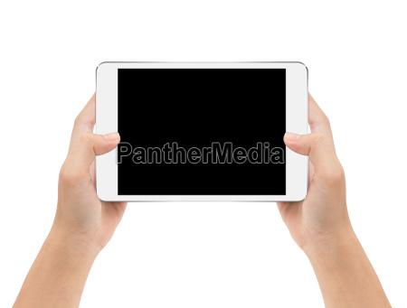 mock-up, tablet, digitale, in, mano, isolato - 19849429