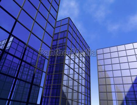 grattacielo ufficio blu specchio vetro finestre