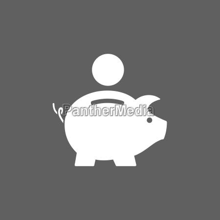 icona piggy bank su sfondo scuro