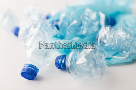 close up of used plastic bottles