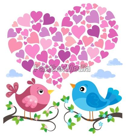 uccelli di san valentino con tema