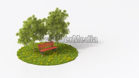 banco rosso sotto gli alberi di