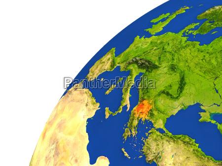 vista satellitare del paese di macedonia