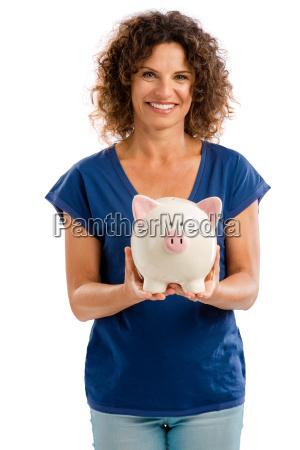donna banca ritratto risparmi porcellino contento