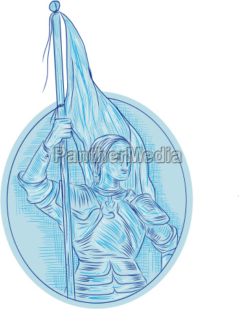 joan of arc holding flag oval