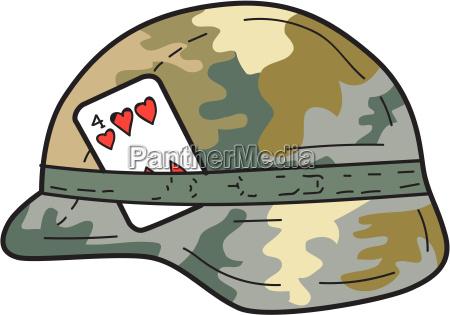 us army helmet 4 of hearts