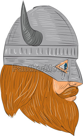 viking warrior head right side view