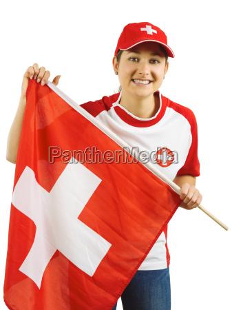 donna sport dello sport svizzera bandiera
