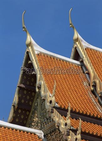 roof detail wat benchamabophit bangkok thailand