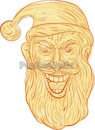 evil santa claus head drawing