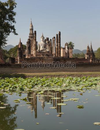 wat mahathat reflected in a lake