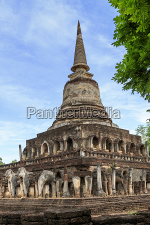 temple decorated with elephant reliefs at