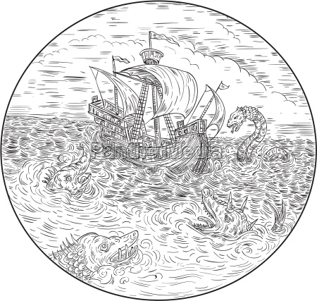 tall ship turbulent sea serpents black