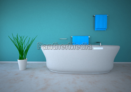 illustrazione 3d del bagno con pianta