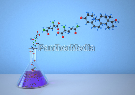 boccetta conica con struttura molecolare su