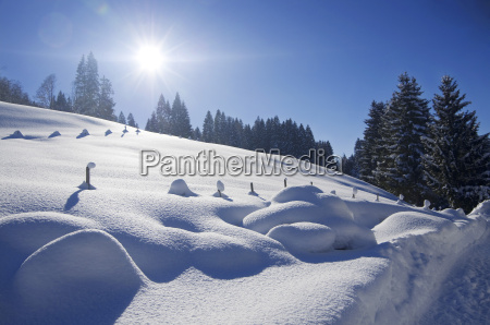 germania baviera vista del paesaggio invernale