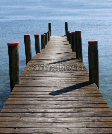 germany baden wuerttemberg jetty on lake