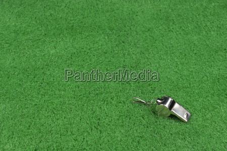 fischio di umpire sul tappeto erboso
