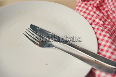 piatto vuoto con forchetta e coltello