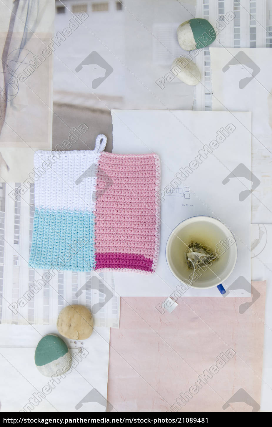 crocheted, potholder, , pebbles, and, cup, of - 21089481