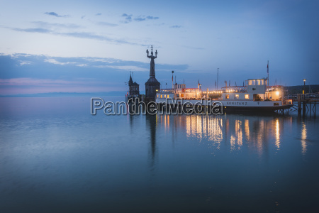 germany constance harbour entrance with imperia