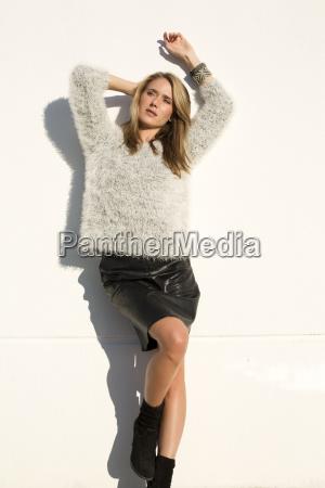 attractive blond woman wearing mini skirt