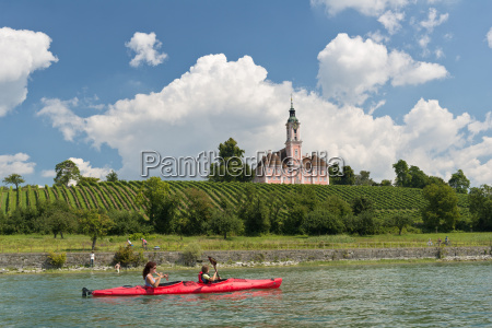 germany mother and daughter rowing boat